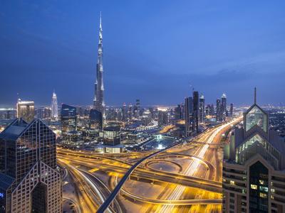Sheikh Zayad Road and Burj Khalifa, Downtown, Dubai, United Arab Emirates
