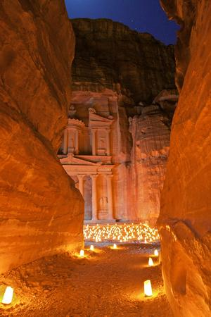 Treasury Lit by Candles at Night, Petra, Jordan, Middle East