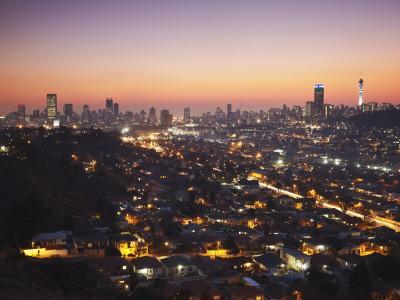 View of Johannesburg Skyline at Sunset, Gauteng, South Africa