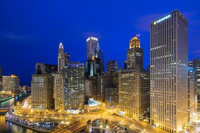 USA, Illinois, Chicago. Night Time View over the City.