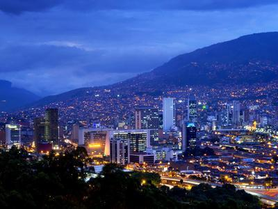 Medellin, Colombia, Elevated View of Downtown Medellin, Aburra Valley Surrounded by the Andes Mount