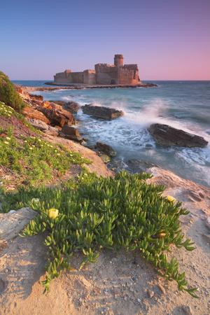 Italy, Calabria, Crotone, Sunset at Le Castella