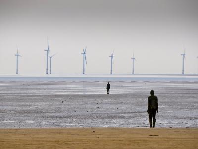 Anthony Gormleys Another Place, Crosby Beach, Merseyside, England, UK