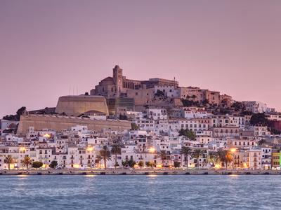 Spain, Balearic Islands, Ibiza, View of Ibiza Old Town (UNESCO Site), and Dalt Vila