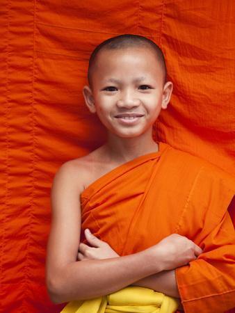 Laos, Luang Prabang, Wat Sensoukarahm, Portrait of Monk