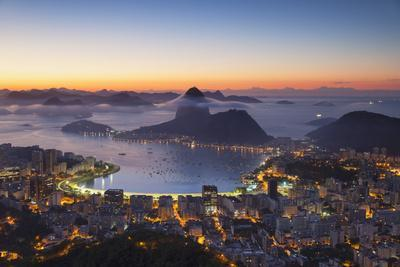View of Sugarloaf Mountain and Botafogo Bay at Dawn, Rio De Janeiro, Brazil