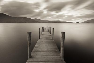 Wooden Jetty on Derwent Water in the Lake District, Cumbria, England. Autumn
