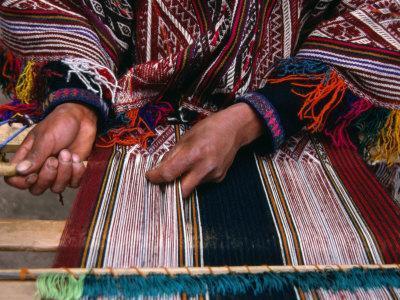 Traditionally Dressed Weaver Working, Pisac, Cuzco, Peru