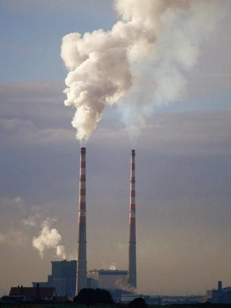 Smokestacks of Dublin Power Station, Dublin, Ireland