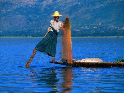 Intha Fisherman Tending to Nets and Rowing, Inle Lake, Shan State, Myanmar (Burma)