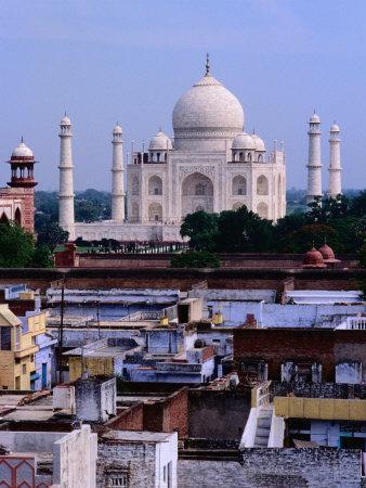 Taj Mahal and City Rooftops, Agra, Uttar Pradesh, India