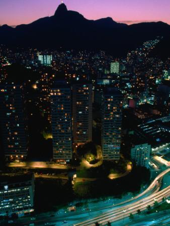 View over Praca (Square) Juliano Sodre in Rio at Night