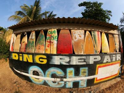 Surfboard Repair Shop, which has a Thriving Trade Due to the Heavy Waves