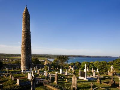 12th Century Round Tower, St Declan's Cathedral, Ardmore, Co Waterford, Ireland