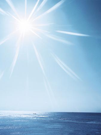 Sunshine Over Sea, Lens Flare, Blue