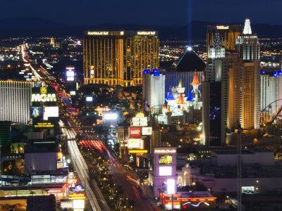Neon Lights of the The Strip at Night, Las Vegas, Nevada, United States of America, North America