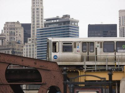 El Train on the Elevated Train System, the Loop, Chicago, Illinois, USA