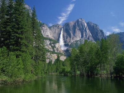 Merced River, Yosemite Falls in the Background, Yosemite National Park, California, USA