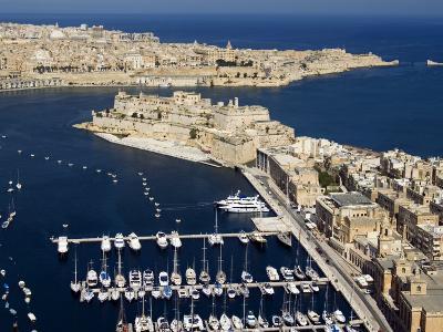 Aerial View of St. Angelo Fort in Vittoriosa in Front of Valletta, Malta, Mediterranean
