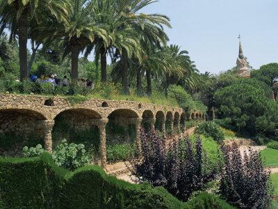 Gaudi Achitecture and Gardens, Gaudi Guell Park, Barcelona, Catalonia, Spain