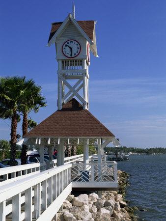 Pier and Clock, Bradenton Beach, Anna Maria Island, Florida, USA