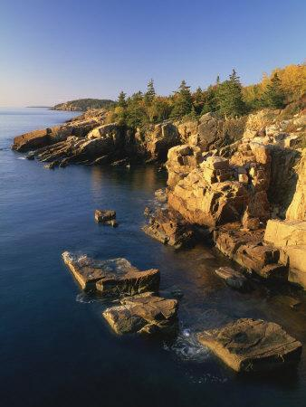 Rocks Along the Coastline in the Acadia National Park, Maine, New England, USA