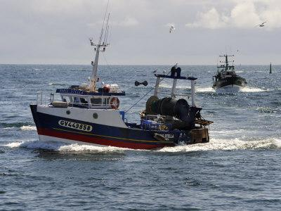 Fishing Boats Returning to Harbour, Guilvinec, Finistere, Brittany, France, Europe