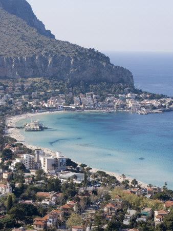 Bay and Pier, Mondello, Palermo, Sicily, Italy, Mediterranean, Europe