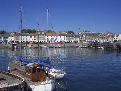 Boats on Water and Waterfront at Neuk of Fife, Anstruther, Scotland, United Kingdom, Europe