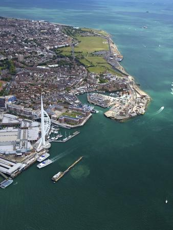 Aerial View of the Spinnaker Tower and Gunwharf Quays, Portsmouth, Solent, Hampshire, England, UK