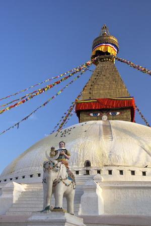 Warrior on Elephant Guards the North Side of Boudhanath Stupa