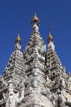 Stucco Carvings on a Shan Stupa, Tharkong Pagoda, Inle Lake, Shan State, Myanmar (Burma), Asia