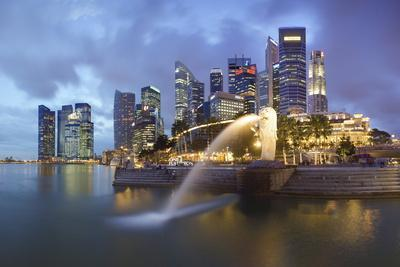 The Merlion Statue with the City Skyline in the Background