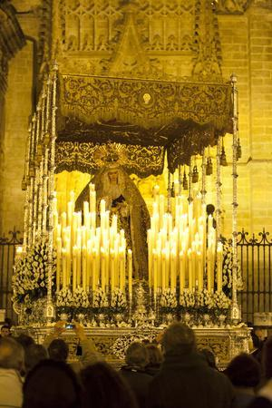 Semana Santa (Holy Week) Float (Pasos) with Image of Virgin Mary Outside Seville Cathedral