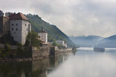 Cruise Ship Passing on the River Danube in the Early Morning Mist, Passau, Bavaria, Germany, Europe