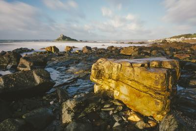 Rocky Shoreline and St. Michaels Mount, Early Morning, Cornwall, England, United Kingdom, Europe
