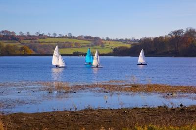 Sailing on Ogston Reservoir, Derbyshire Dales, Derbyshire, England, United Kingdom, Europe