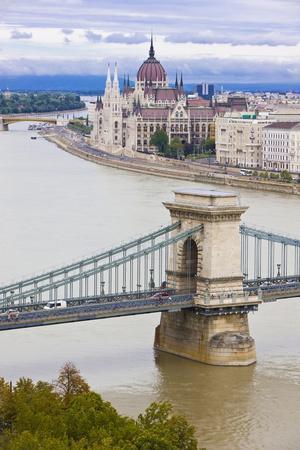Chain Bridge across the Danube, Budapest, Hungary, Europe