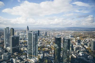 High Angle View of Financial Centre, Frankfurt-Am-Main, Hesse, Germany, Europe