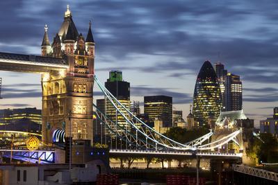 Tower Bridge and the City of London at Night, London, England, United Kingdom, Europe