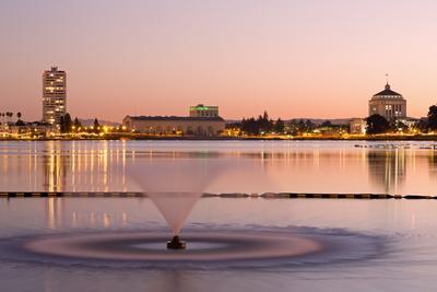 Fountain in Lake Merritt, Oakland, California, United States of America, North America
