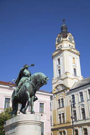 Town Hall and Statue of Janos Hunyadi, Pecs, Southern Transdanubia, Hungary, Europe