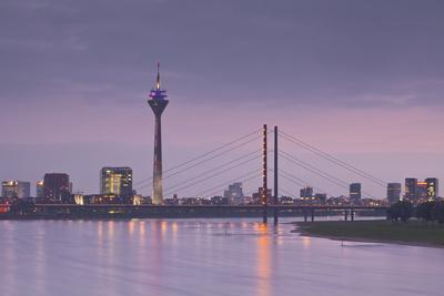 The Dusseldorf Skyline at Dusk, Dusseldorf, North Rhine-Westphalia, Germany, Europe