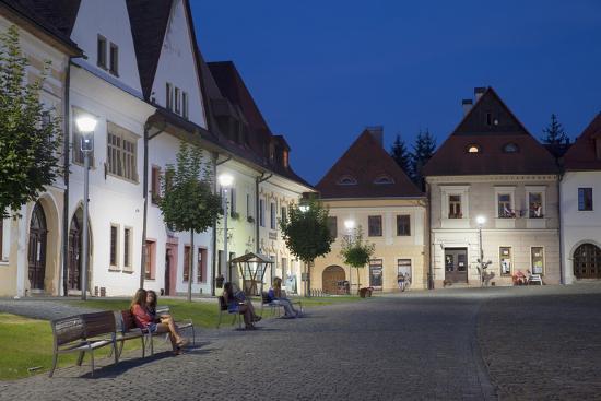 Radnicne Square at Dusk, Bardejov, UNESCO World Heritage Site, Presov  Region, Slovakia, Europe