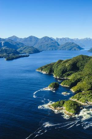 Aerial of a Huge Fjord in Fiordland National Park