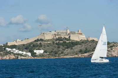 Sailboat Participating in Regatta, View of Ibiza Old Town and Dalt Vila, Ibiza
