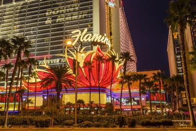 Neon Lights, Las Vegas Strip at Dusk with Flamingo Facade and Palm Trees, Las Vegas, Nevada, Usa
