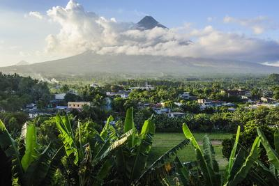 View from the Daraga Church to the Volcano of Mount Mayon, Legaspi, Southern Luzon, Philippines