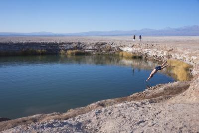 Man Diving into One of the Twin Fresh Lakes (Sala Eyes) in San Pedro De Atacama