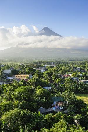 View from the Daraga Church over Volcano of Mount Mayon, Legaspi, Southern Luzon, Philippines